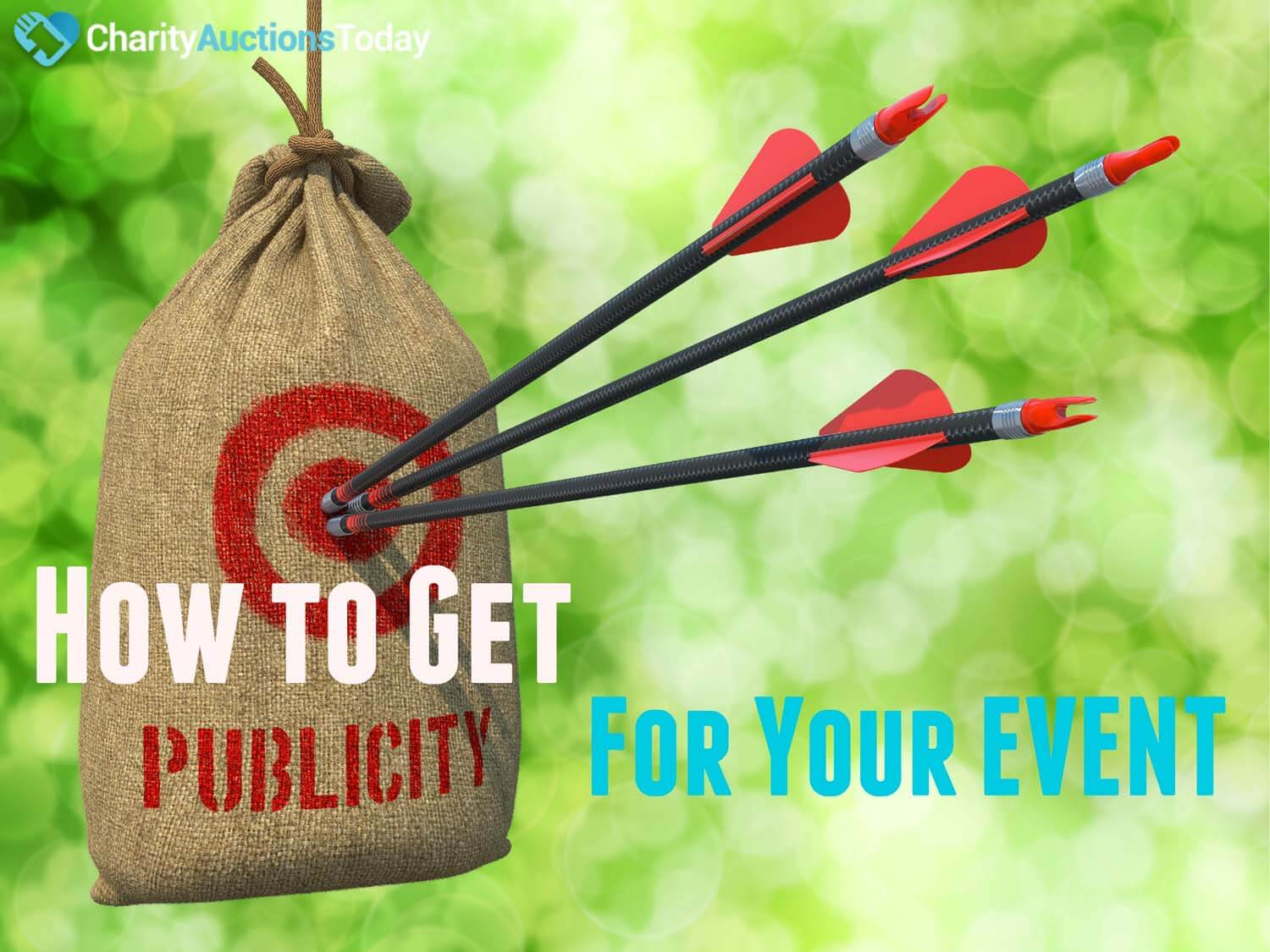 Publicity - Three Arrows Hit in Red Target on a Hanging Sack on Green Bokeh Background.