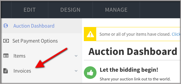 Auction Invoices Screen Shot