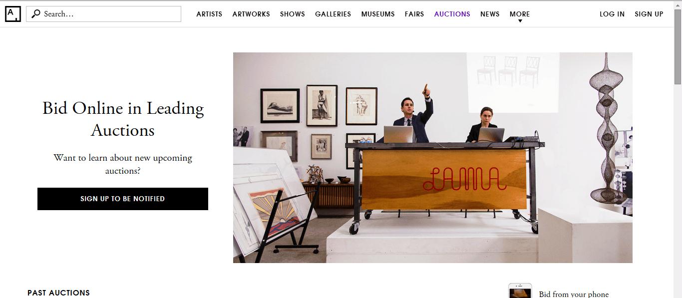 Artsy Homepage