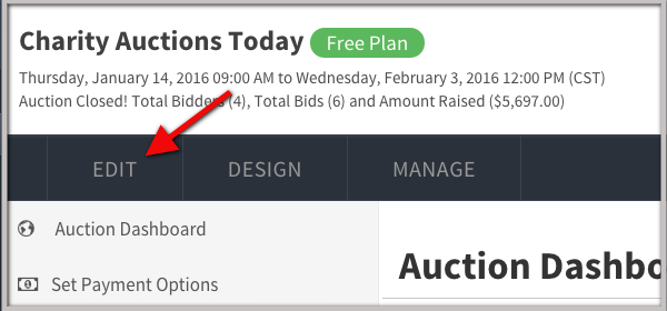 Auction Dashboard Edit