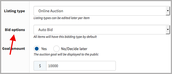 Bidding Options