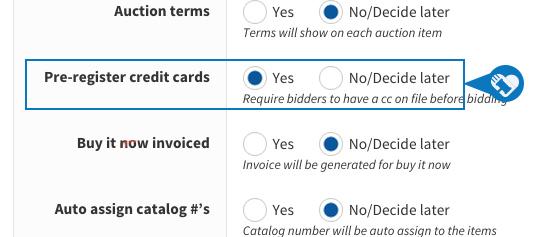 Pre register credit card prior to bidding3