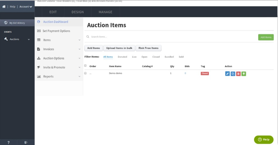 Review Listing Auction Items