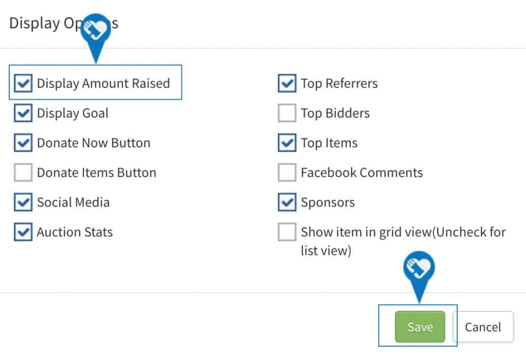 Show or remove the Total amount raised on my page5