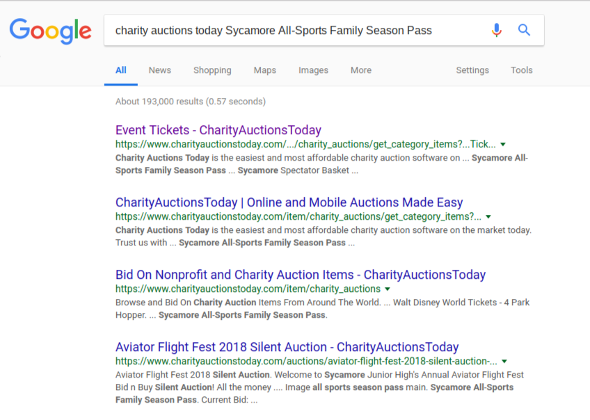 Seo Pagerank Results Charity Auctions Today