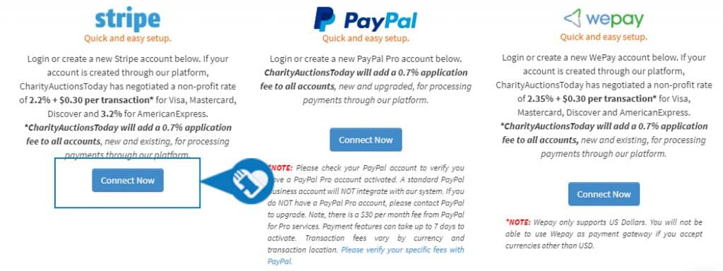 Connect a payment processor to my auction5