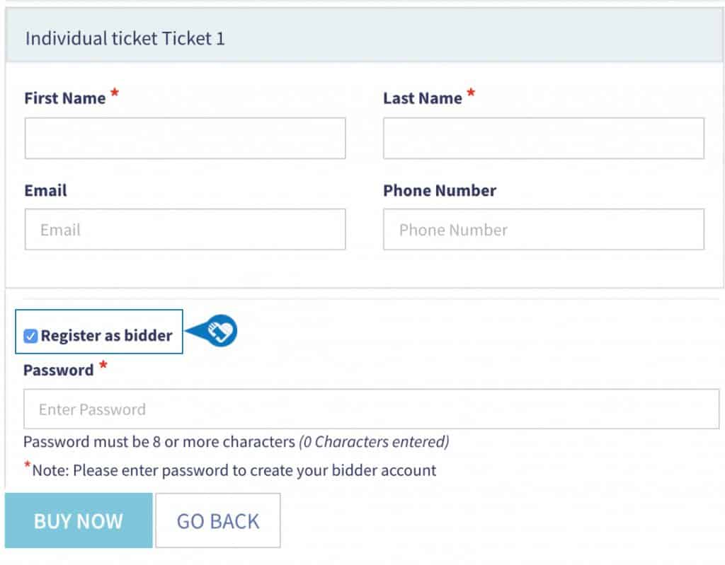 Purchasing Event Tickets and Registering for Auction