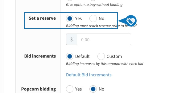 Setting a reserve price on an item5